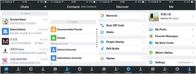 Vô số tính năng trong ứng dụng WeChat. Ảnh: Maketecheasier