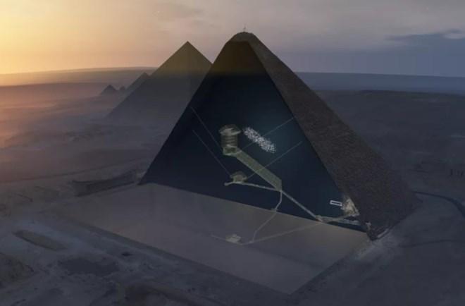 Mô phỏng căn hầm bí ẩn trong kim tự tháp Khufu (Nguồn: Vox)