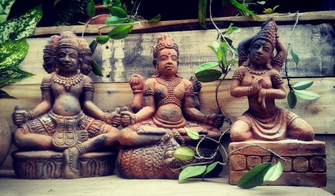 Tam vị Trimuti (Brahma - Vishnu - Shiva) của gốm Bàu Trúc