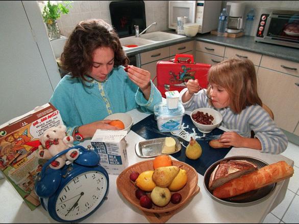 Khẩu phần ăn sáng để đo lường dựa trên căn bản: 1 ly sữa tươi, 1 quả trứng, 1 trái cây và 2 lát bánh mì.- Ảnh minh họa