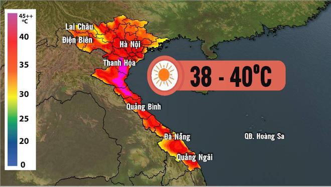 Nhiệt độ cao tại khu vực miền Bắc. Ảnh: Dự báo thời tiết VTV.