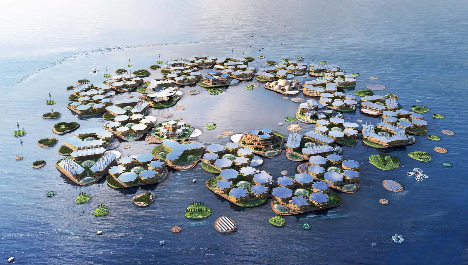 Thành phố nổi chứa 10.000 dân, không sợ bão lũ hay sóng thần