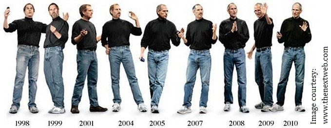Trải qua bao nhiêu năm, trang phục của Steve Jobs vẫn không đổi (Ảnh: The Next Web)