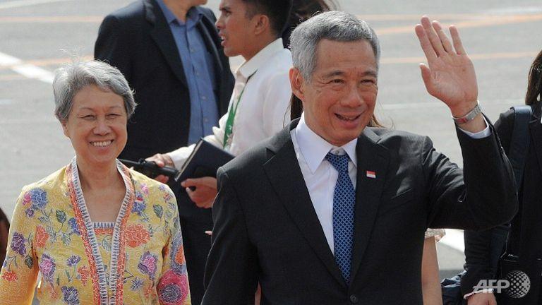 Thủ tướng Lý Hiển Long và Phu nhân Hà Tinh - Ảnh: AFP