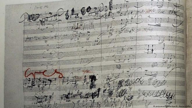 Bút tích chỉnh sửa của Beethoven trên bản nhạc