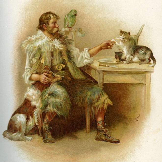 Hình ảnh minh họa Robinson Crusoe trong phiên bản tiểu thuyết xuất bản năm 1895