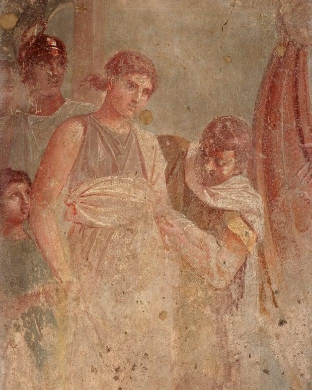 Bức bích họa có niên đại năm 45-79 sau Công nguyên, mô tả Helen rời Sparta đến thành Troy