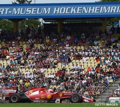 Những hàng ghế trống ở German Grand Prix.
