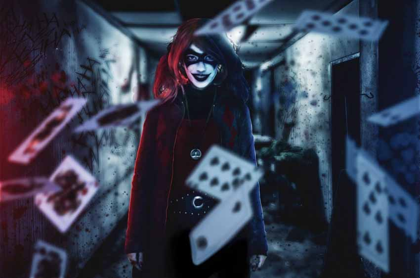 Sarah Shahabadi, 24 tuổi, hóa trang thành Harley Quinn – kẻ thù của Người Dơi