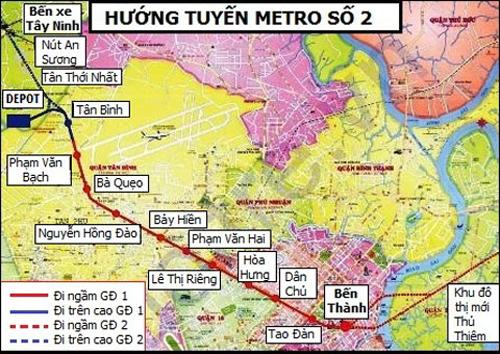 Sơ đồ đường đi của tuyến metro số 2. Ảnh: BQLĐSĐT TP HCM